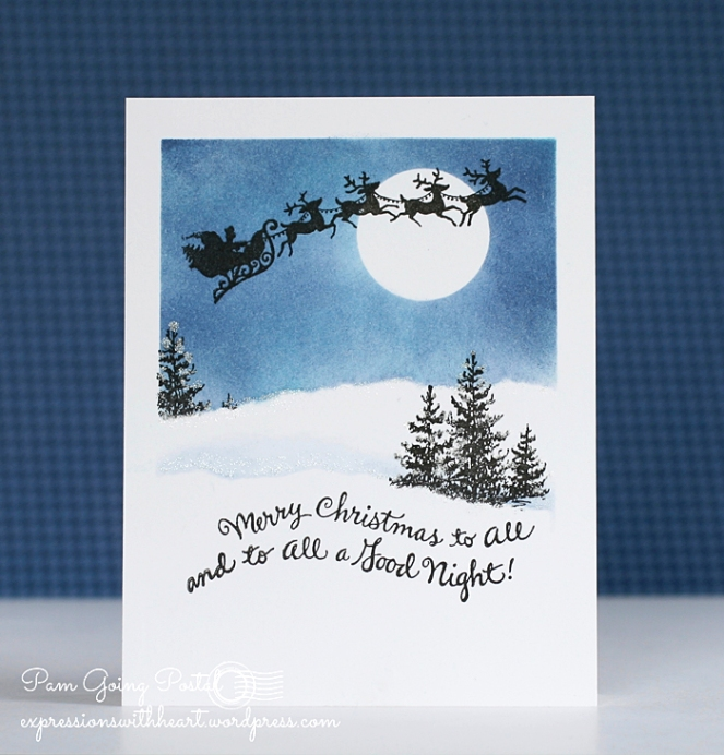 Pam Sparks One Layer Santa Night Scene