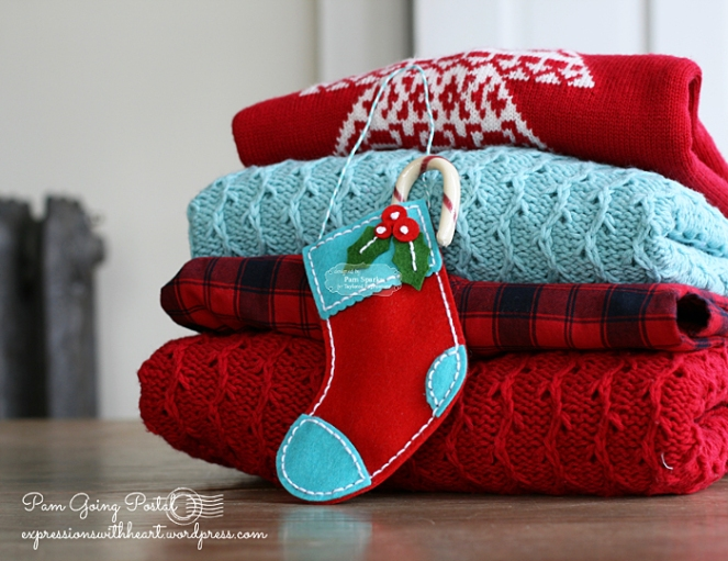Pam Sparks Plush Stocking Red Turquoise