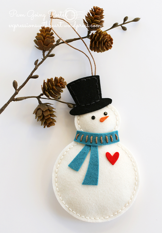 Pam Sparks Felt Snowman with heart