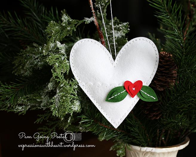 Pam Sparks Plush Heart Pocket White felt
