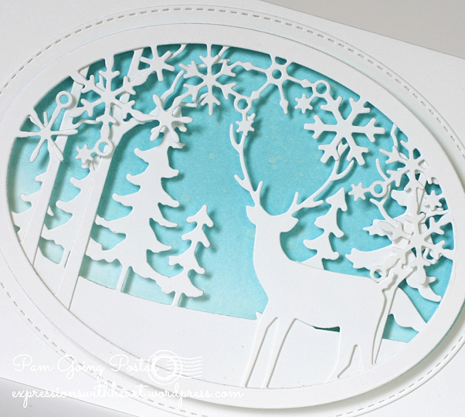 Pam Sparks Snowflake Deer Oval Scene Close