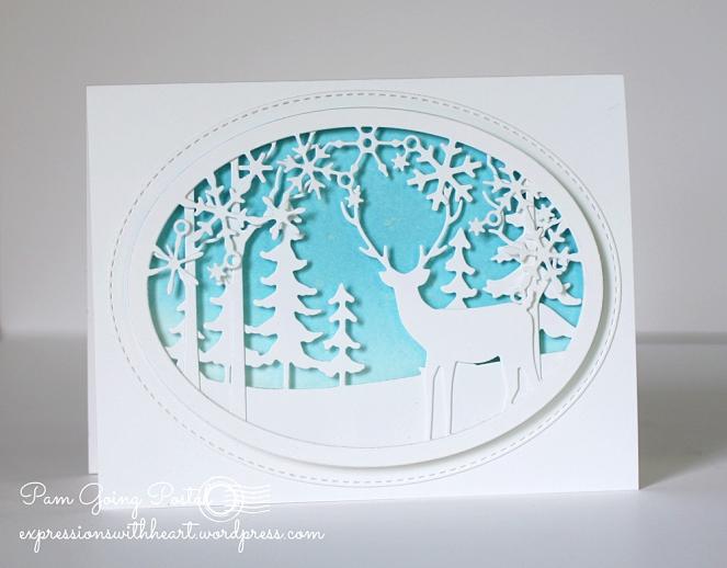 Pam Sparks Snowflake Deer Oval Scene