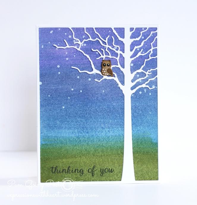 Pam Sparks Forest Tree Frame Owl