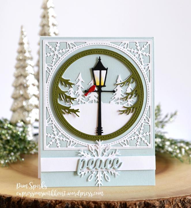 Memory Box Holiday Lamp Post Frame and Pinpoint Snowflake Circle ...