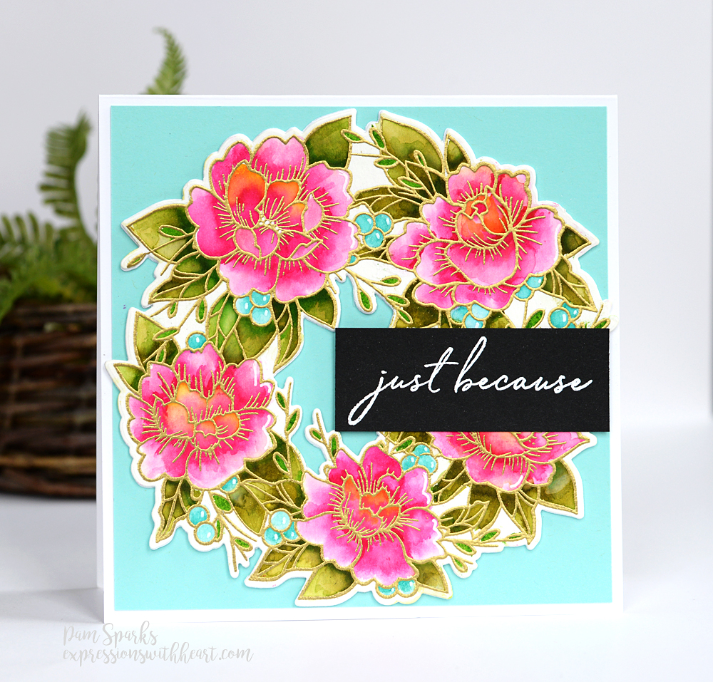 CL5257-D Peony Garden Wreath clear stamp and die set